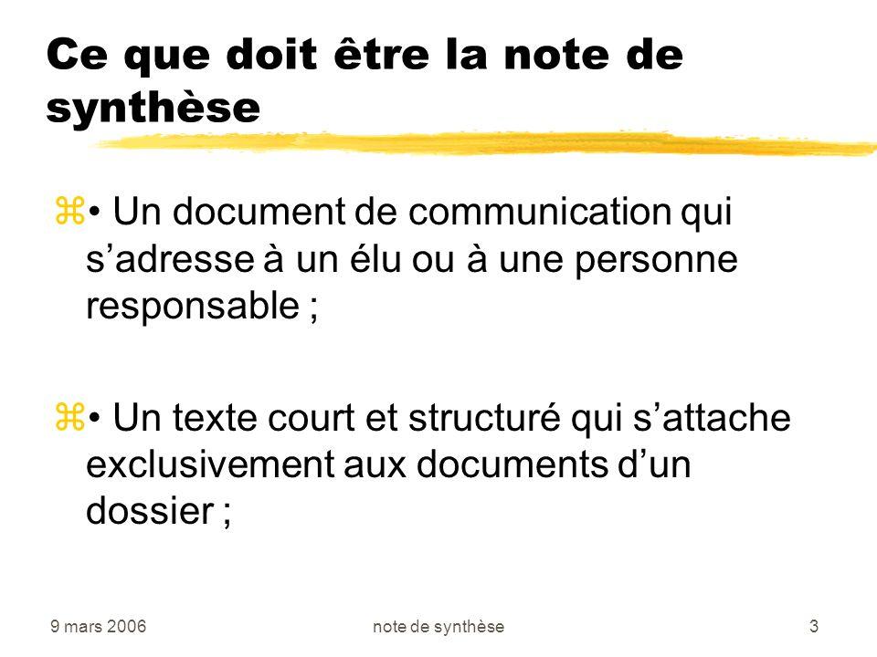 9 mars 2006note de synthèse3 Ce que doit être la note de synthèse z Un document de communication qui sadresse à un élu ou à une personne responsable ;