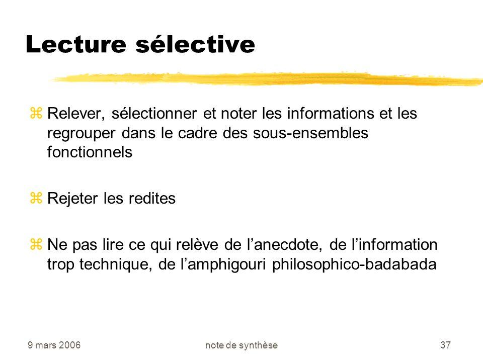 9 mars 2006note de synthèse37 Lecture sélective zRelever, sélectionner et noter les informations et les regrouper dans le cadre des sous-ensembles fon