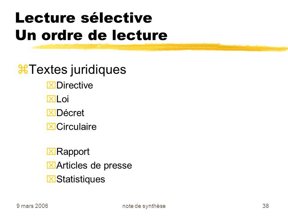 9 mars 2006note de synthèse38 Lecture sélective Un ordre de lecture zTextes juridiques xDirective xLoi xDécret xCirculaire xRapport xArticles de press