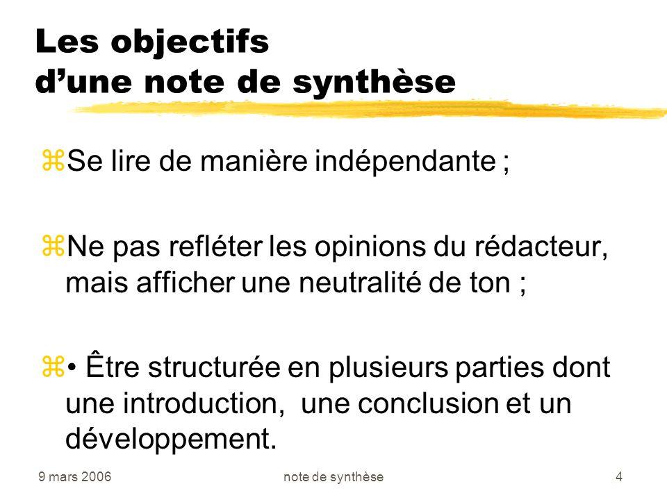 9 mars 2006note de synthèse4 Les objectifs dune note de synthèse zSe lire de manière indépendante ; zNe pas refléter les opinions du rédacteur, mais a