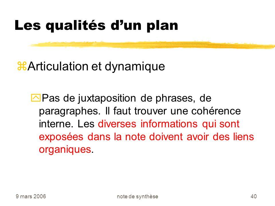 9 mars 2006note de synthèse40 Les qualités dun plan zArticulation et dynamique yPas de juxtaposition de phrases, de paragraphes. Il faut trouver une c