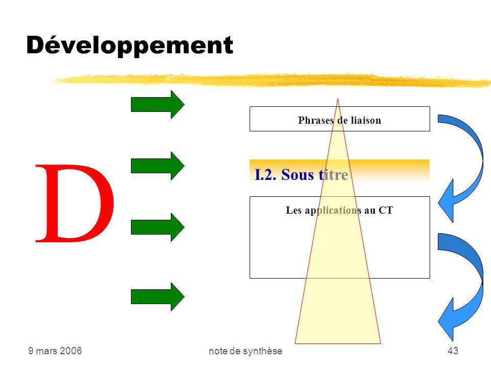 9 mars 2006note de synthèse43 Développement D I.2. Sous titre Les applications au CT Phrases de liaison