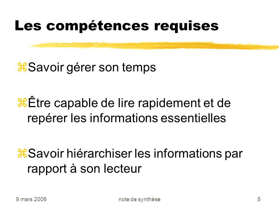 9 mars 2006note de synthèse6 Les compétences requises zÊtre capable délaborer un plan adapté à la problématique zSavoir rédiger un texte lisible avec rapidité, précision