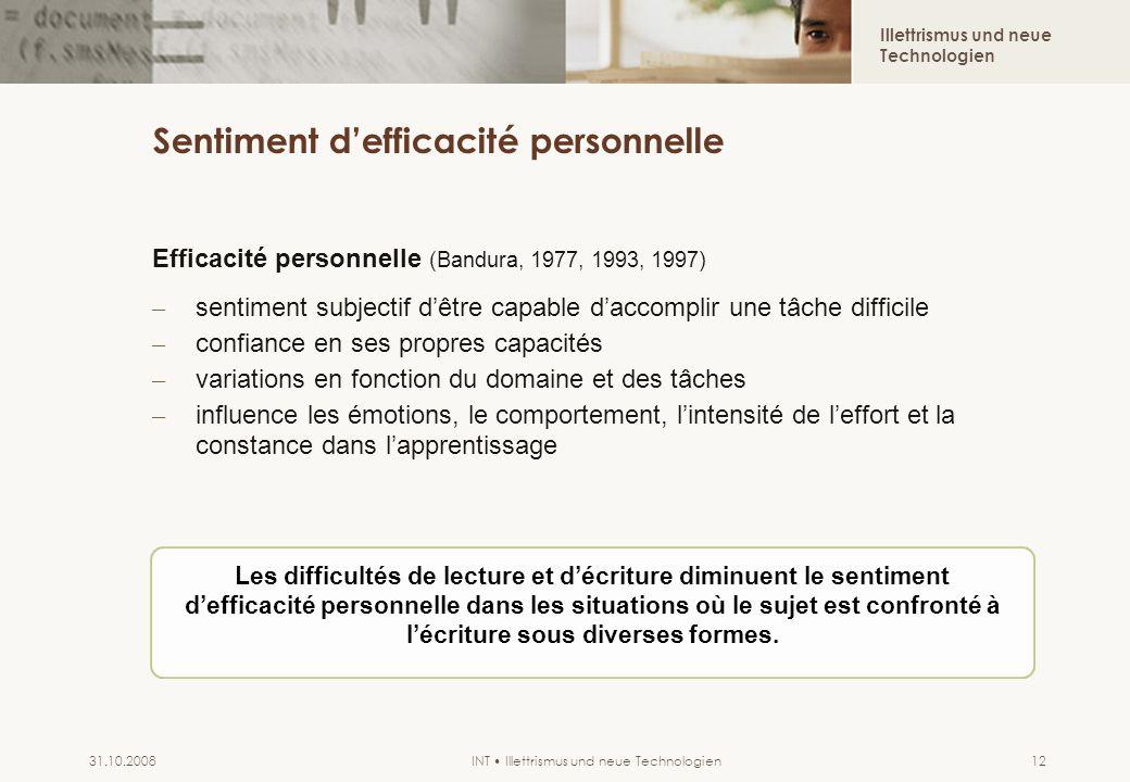 Illettrismus und neue Technologien INT Illettrismus und neue Technologien31.10.200812 Sentiment defficacité personnelle Efficacité personnelle (Bandur