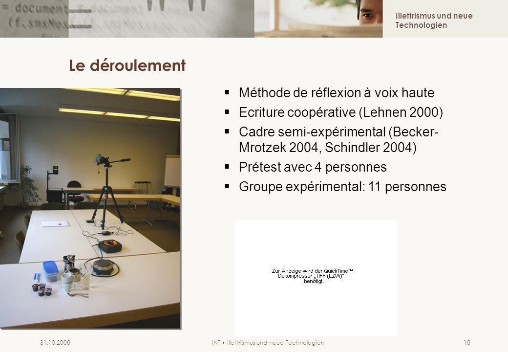 Illettrismus und neue Technologien INT Illettrismus und neue Technologien31.10.200818 Le déroulement Méthode de réflexion à voix haute Ecriture coopér
