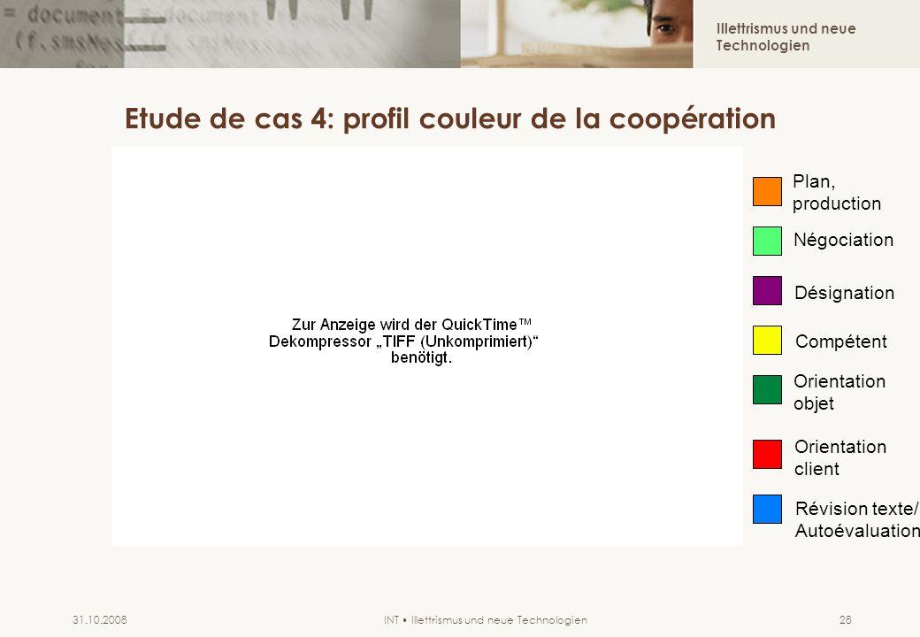 Illettrismus und neue Technologien INT Illettrismus und neue Technologien31.10.200828 Etude de cas 4: profil couleur de la coopération Plan, productio