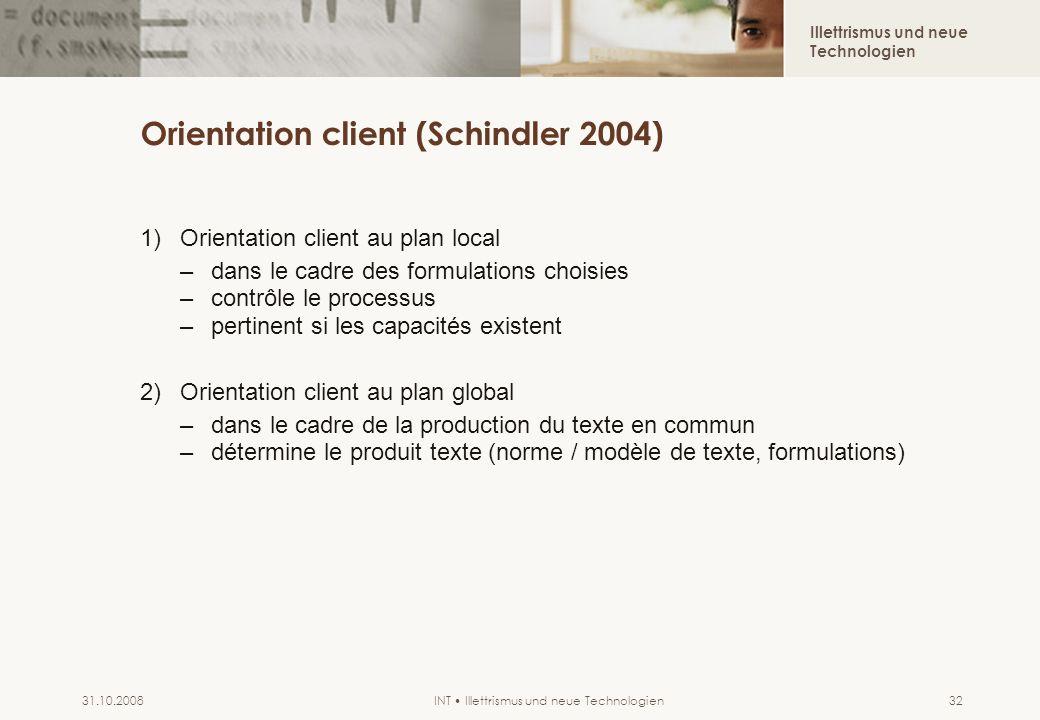 Illettrismus und neue Technologien INT Illettrismus und neue Technologien31.10.200832 Orientation client (Schindler 2004) 1)Orientation client au plan
