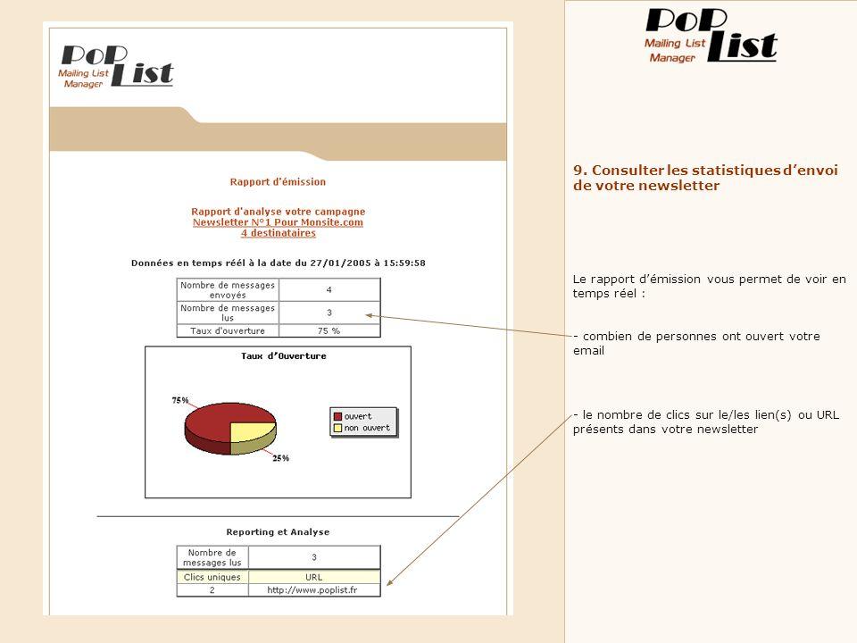 9. Consulter les statistiques denvoi de votre newsletter Le rapport démission vous permet de voir en temps réel : - combien de personnes ont ouvert vo