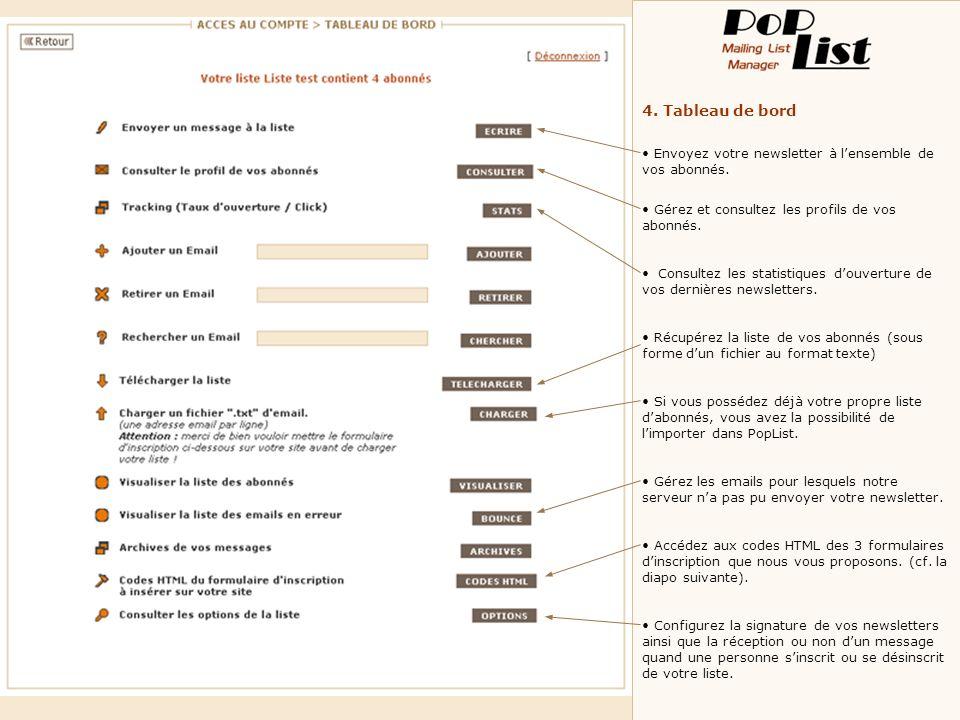4. Tableau de bord Envoyez votre newsletter à lensemble de vos abonnés. Gérez et consultez les profils de vos abonnés. Consultez les statistiques douv