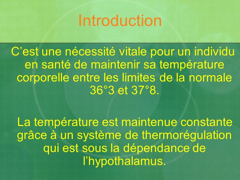 Introduction Cest une nécessité vitale pour un individu en santé de maintenir sa température corporelle entre les limites de la normale 36°3 et 37°8.