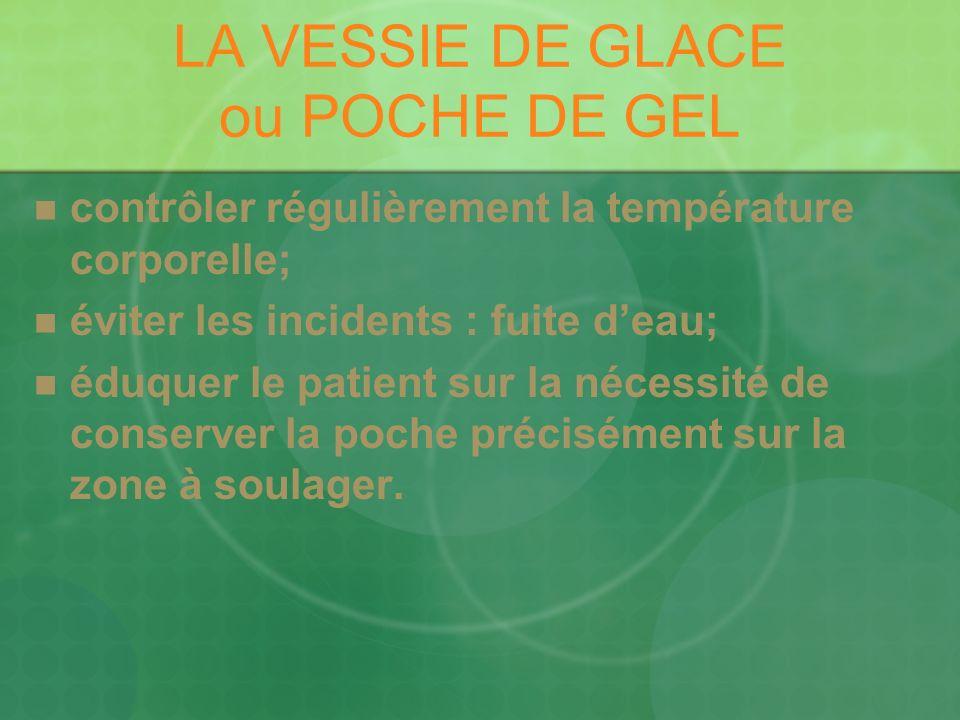 LA VESSIE DE GLACE ou POCHE DE GEL contrôler régulièrement la température corporelle; éviter les incidents : fuite deau; éduquer le patient sur la nécessité de conserver la poche précisément sur la zone à soulager.