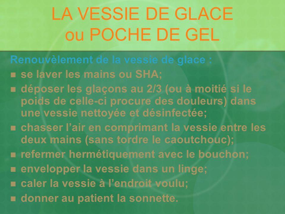 LA VESSIE DE GLACE ou POCHE DE GEL Renouvèlement de la vessie de glace : se laver les mains ou SHA; déposer les glaçons au 2/3 (ou à moitié si le poid