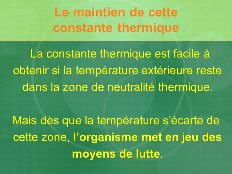 Lutte contre le froid par : laugmentation de la thermogenèse : augmentation des combustions cellulaires, de lactivité musculaire consciente et involontaire : frisson.