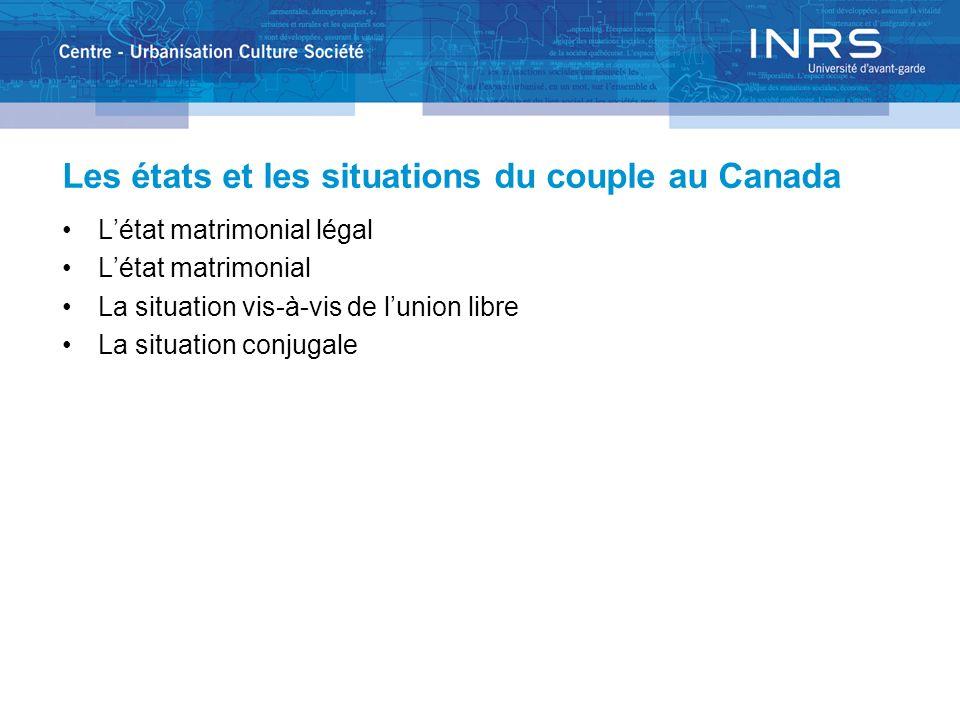 Les états et les situations du couple au Canada Létat matrimonial légal Létat matrimonial La situation vis-à-vis de lunion libre La situation conjugal