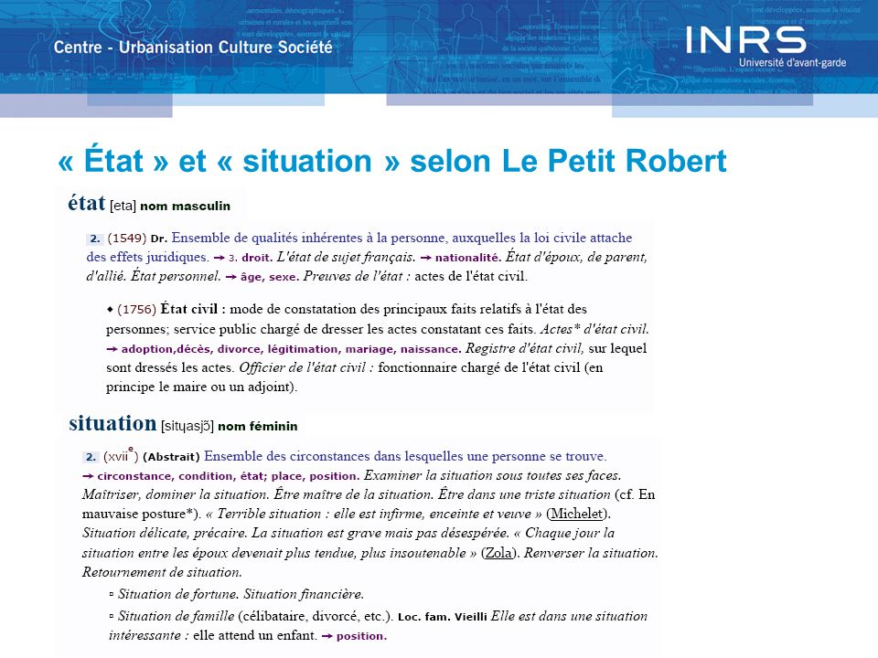« État » et « situation » selon Le Petit Robert