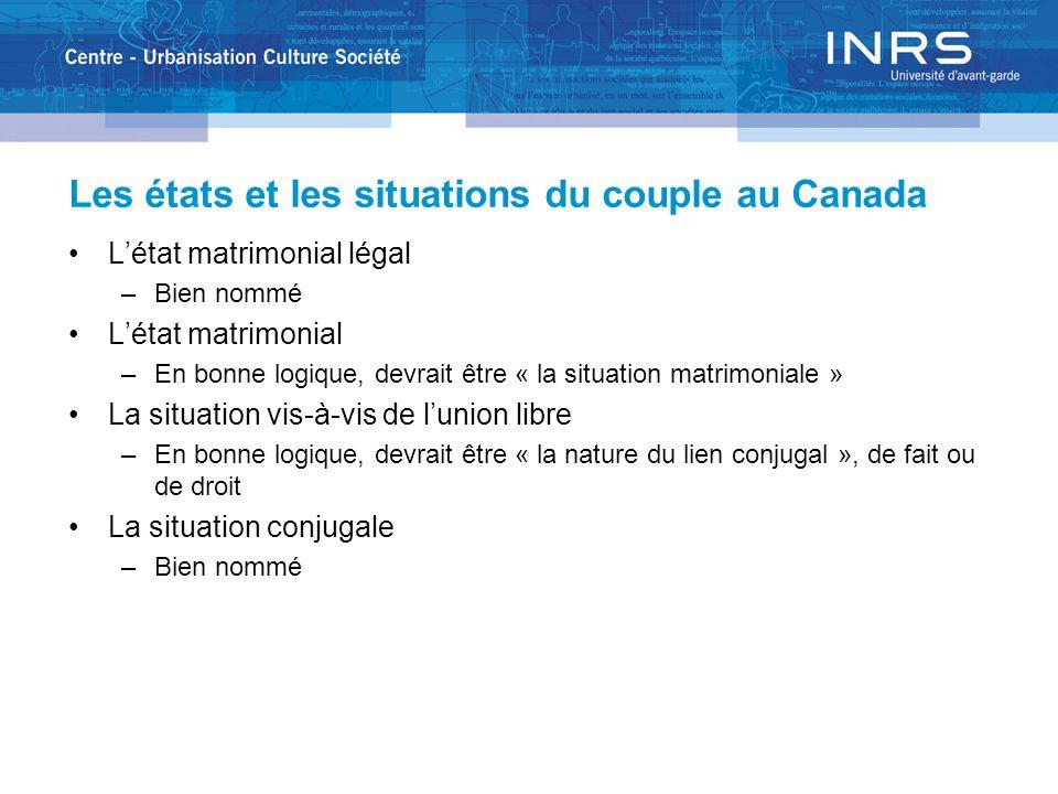 Les états et les situations du couple au Canada Létat matrimonial légal –Bien nommé Létat matrimonial –En bonne logique, devrait être « la situation m