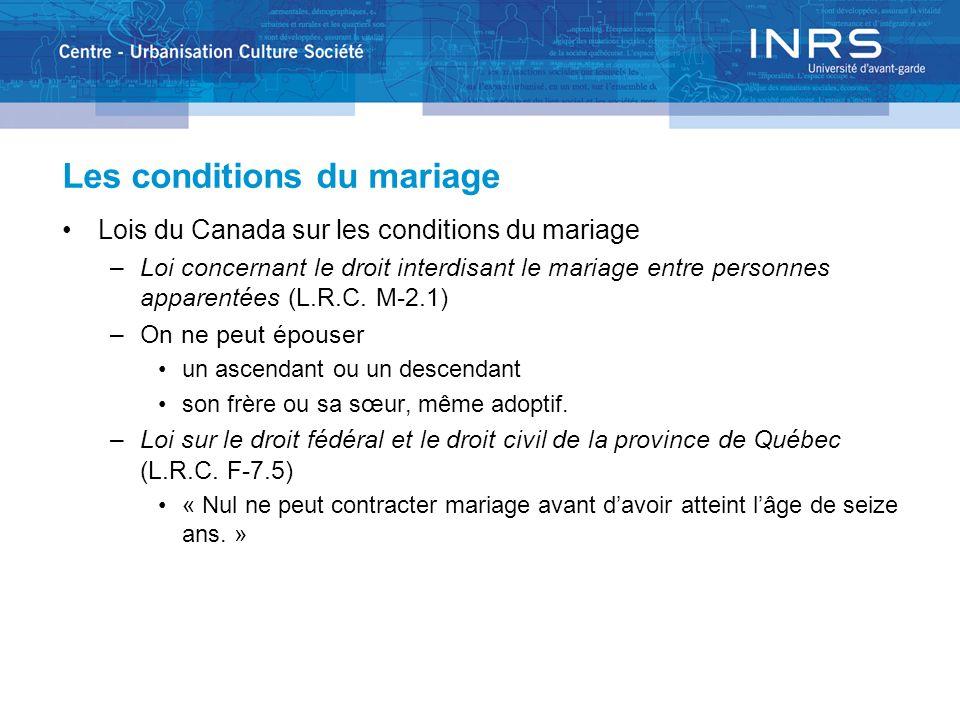 Les conditions du mariage Lois du Canada sur les conditions du mariage –Loi concernant le droit interdisant le mariage entre personnes apparentées (L.