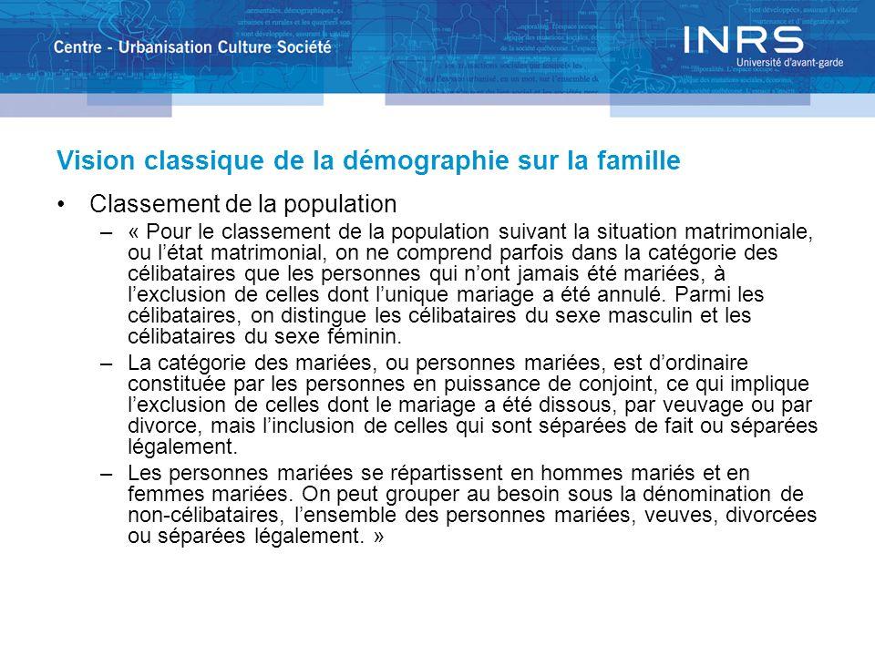 Vision classique de la démographie sur la famille Classement de la population –« Pour le classement de la population suivant la situation matrimoniale