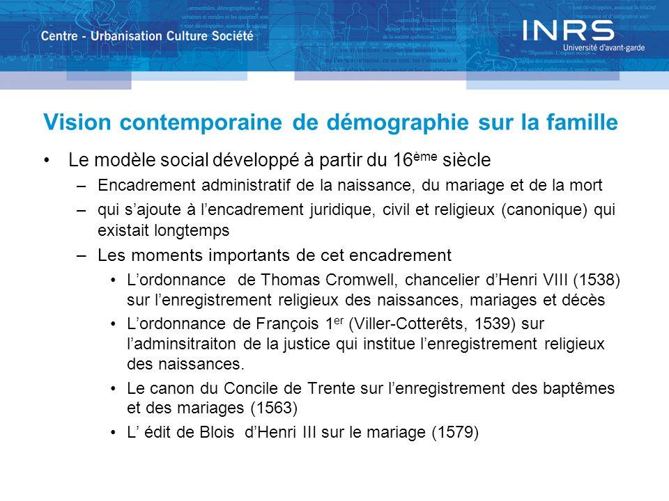 Vision contemporaine de démographie sur la famille Le modèle social développé à partir du 16 ème siècle –Encadrement administratif de la naissance, du