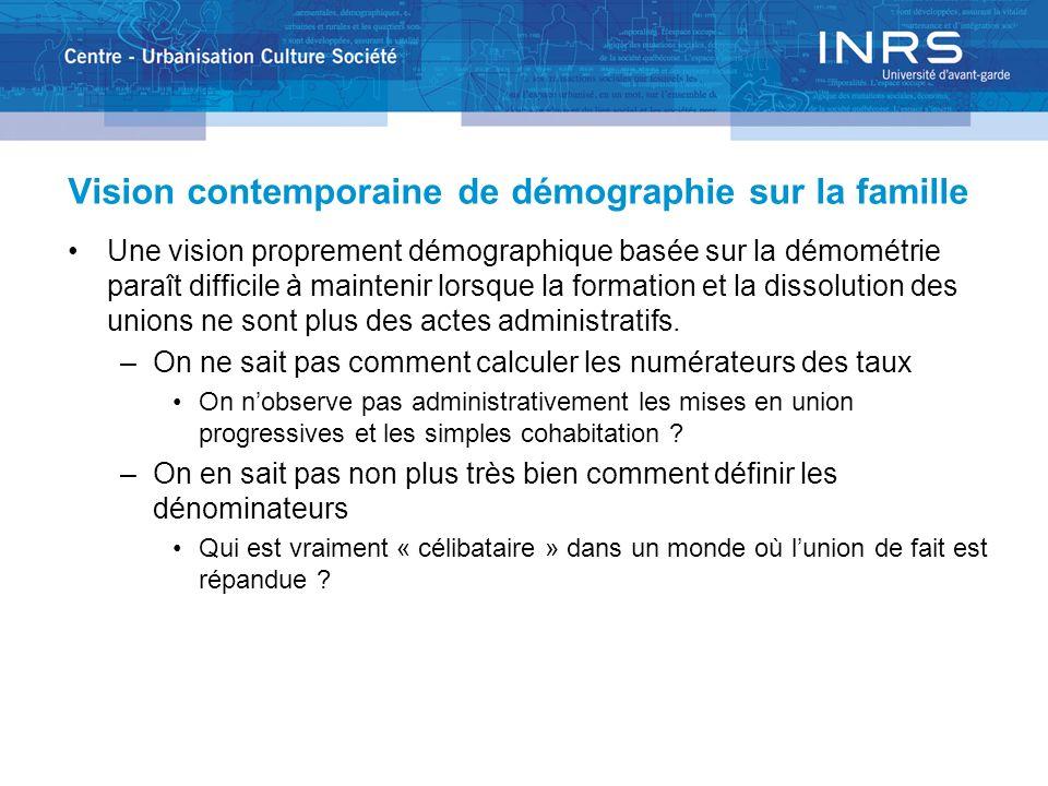 Vision contemporaine de démographie sur la famille Une vision proprement démographique basée sur la démométrie paraît difficile à maintenir lorsque la