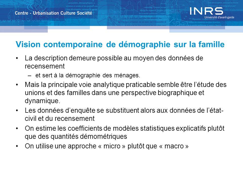 Vision contemporaine de démographie sur la famille La description demeure possible au moyen des données de recensement –et sert à la démographie des m