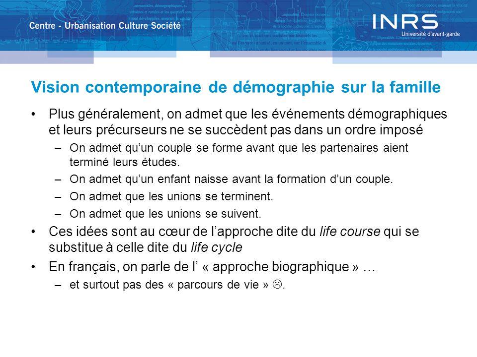 Vision contemporaine de démographie sur la famille Plus généralement, on admet que les événements démographiques et leurs précurseurs ne se succèdent