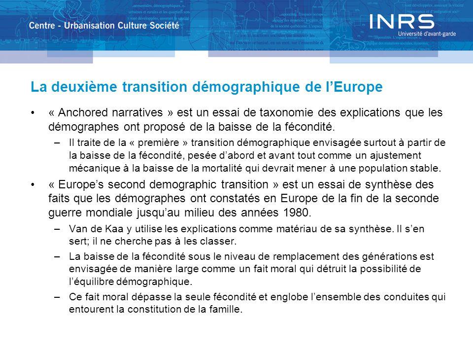 La deuxième transition démographique de lEurope « Anchored narratives » est un essai de taxonomie des explications que les démographes ont proposé de
