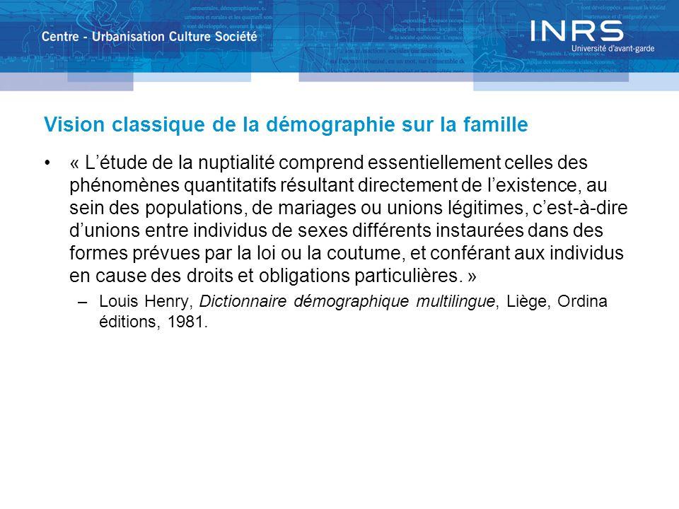 Vision classique de la démographie sur la famille « Létude de la nuptialité comprend essentiellement celles des phénomènes quantitatifs résultant dire