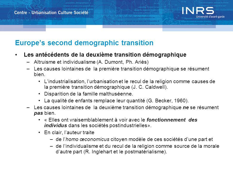 Europes second demographic transition Les antécédents de la deuxième transition démographique –Altruisme et individualisme (A. Dumont, Ph. Ariès) –Les
