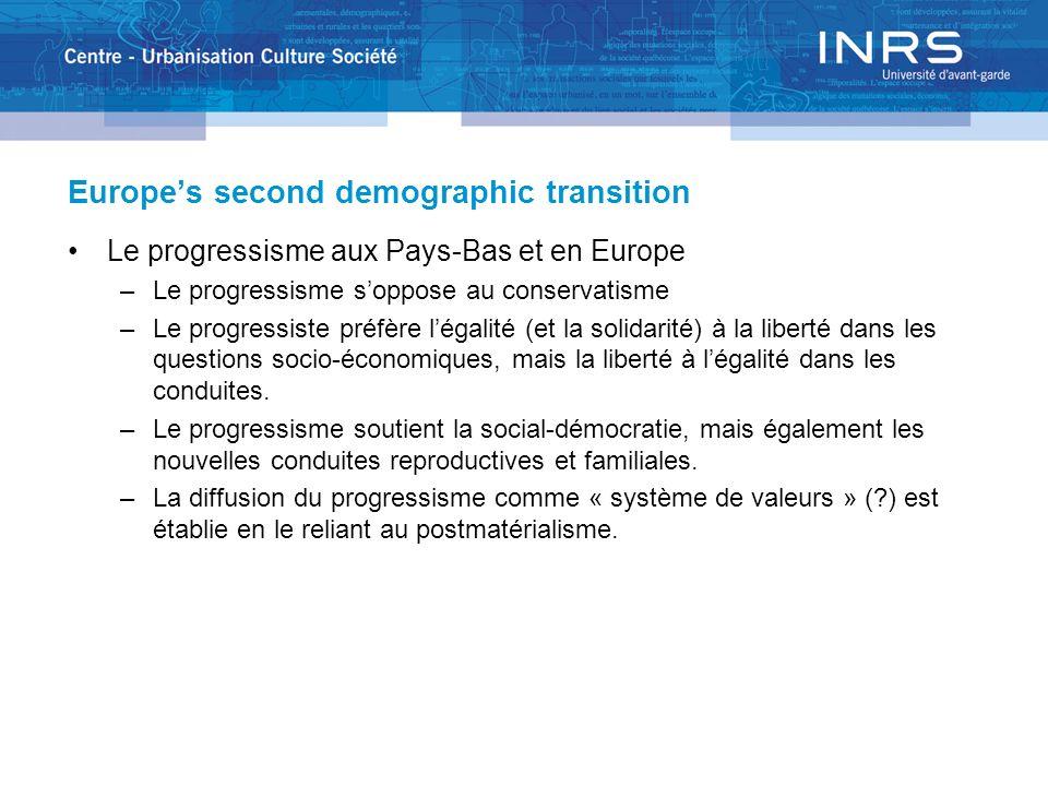 Europes second demographic transition Le progressisme aux Pays-Bas et en Europe –Le progressisme soppose au conservatisme –Le progressiste préfère lég