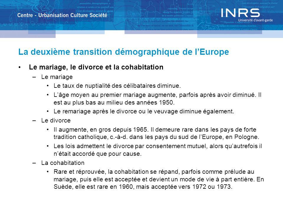La deuxième transition démographique de lEurope Le mariage, le divorce et la cohabitation –Le mariage Le taux de nuptialité des célibataires diminue.