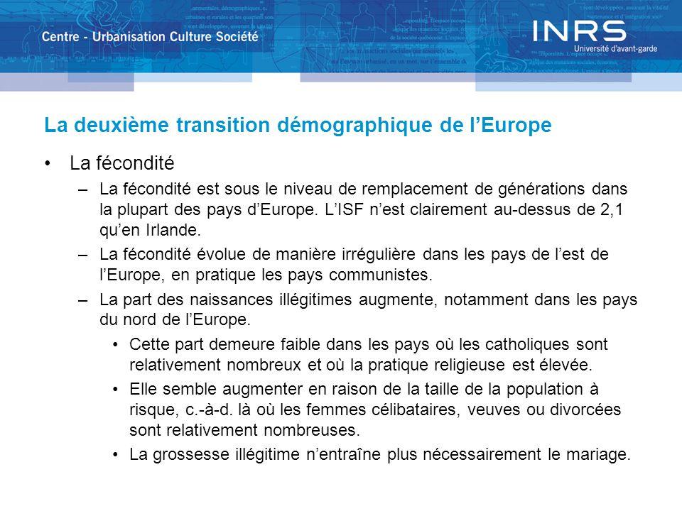 La deuxième transition démographique de lEurope La fécondité –La fécondité est sous le niveau de remplacement de générations dans la plupart des pays