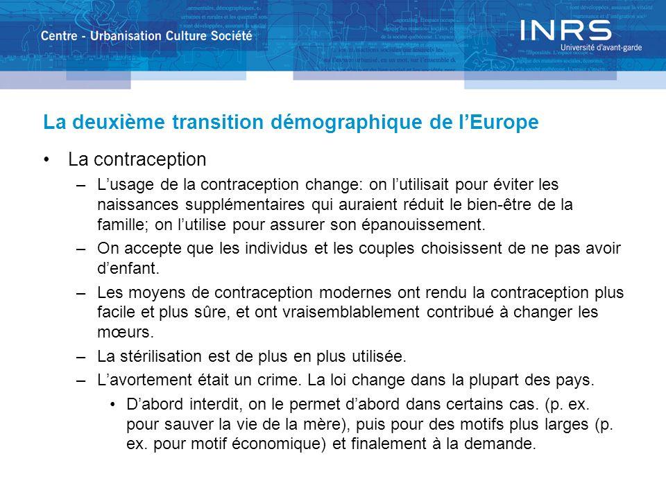 La deuxième transition démographique de lEurope La contraception –Lusage de la contraception change: on lutilisait pour éviter les naissances suppléme