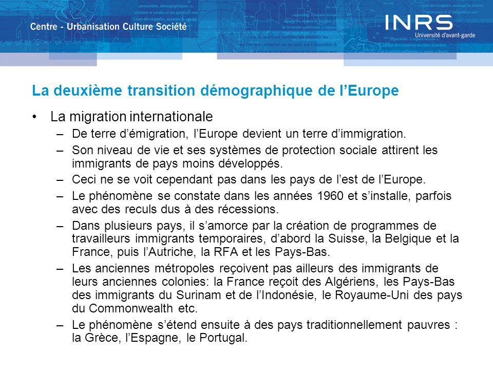 La deuxième transition démographique de lEurope La migration internationale –De terre démigration, lEurope devient un terre dimmigration. –Son niveau