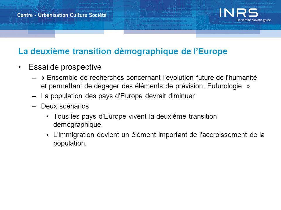La deuxième transition démographique de lEurope Essai de prospective –« Ensemble de recherches concernant l'évolution future de l'humanité et permetta