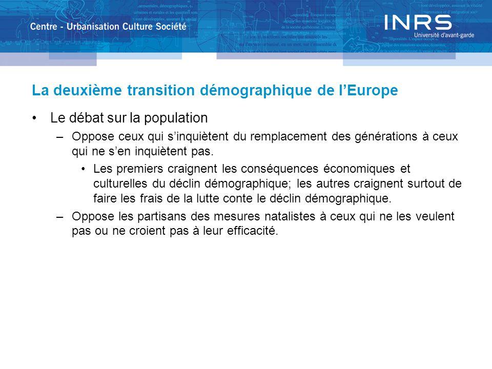 La deuxième transition démographique de lEurope Le débat sur la population –Oppose ceux qui sinquiètent du remplacement des générations à ceux qui ne