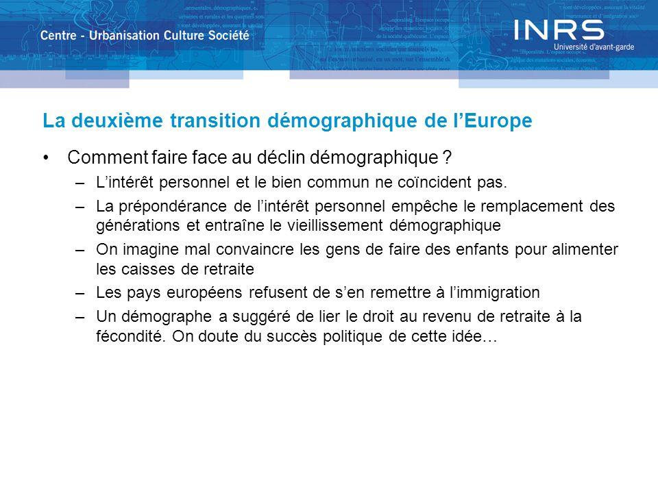 La deuxième transition démographique de lEurope Comment faire face au déclin démographique ? –Lintérêt personnel et le bien commun ne coïncident pas.