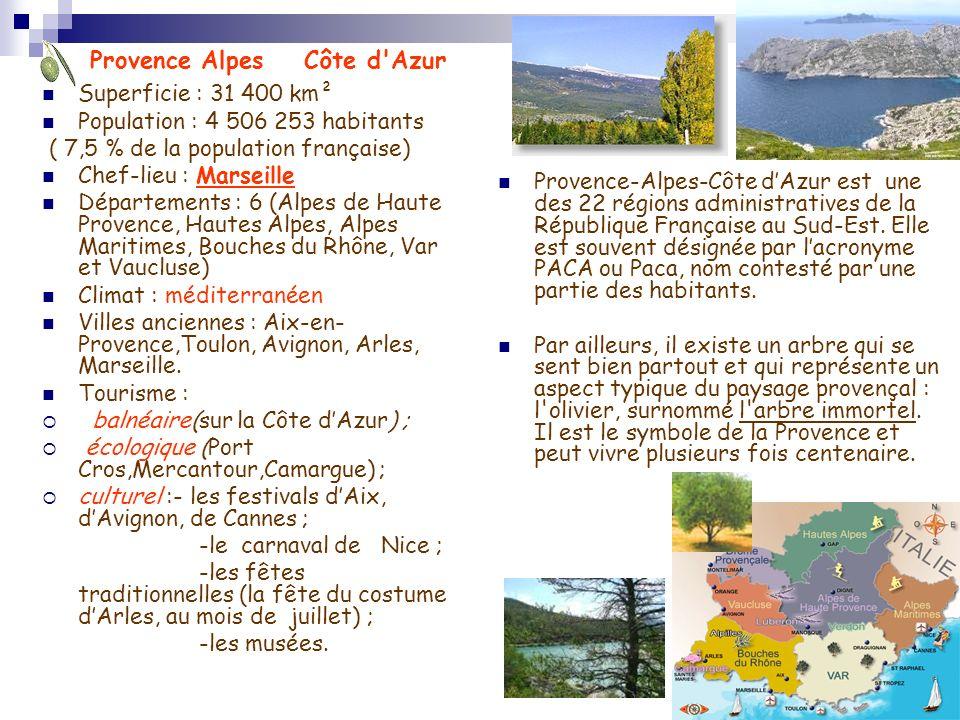 Superficie : 31 400 km² Population : 4 506 253 habitants ( 7,5 % de la population française) Chef-lieu : Marseille Départements : 6 (Alpes de Haute Pr
