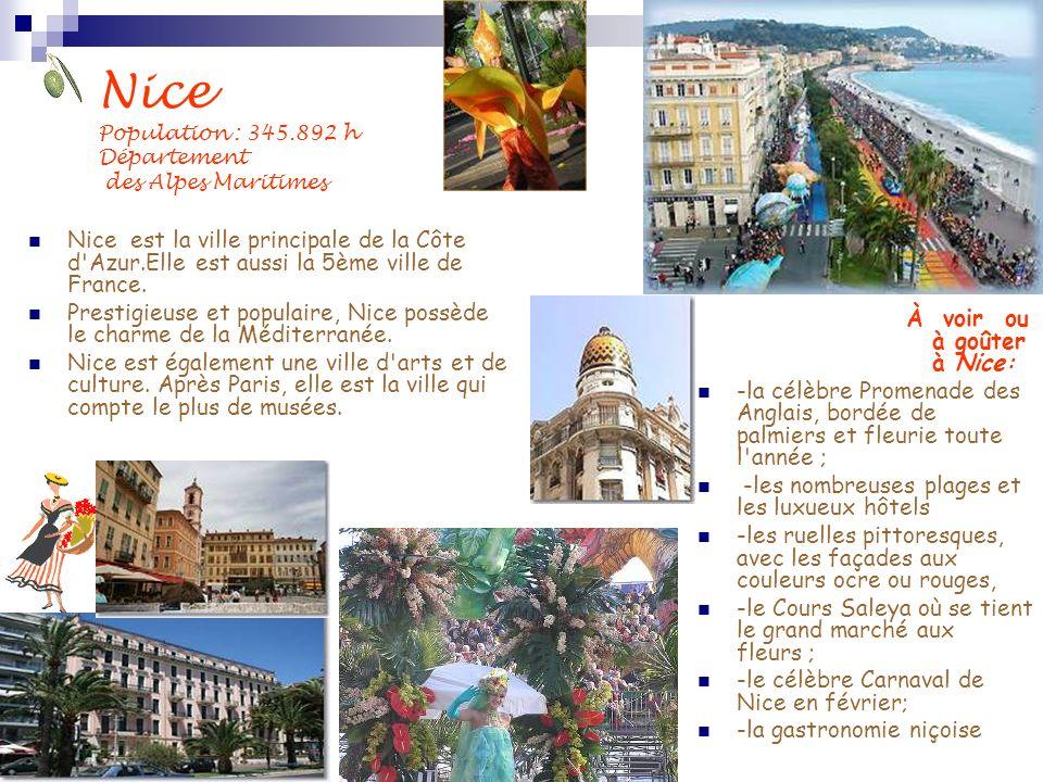 Nice est la ville principale de la Côte d'Azur.Elle est aussi la 5ème ville de France. Prestigieuse et populaire, Nice possède le charme de la Méditer