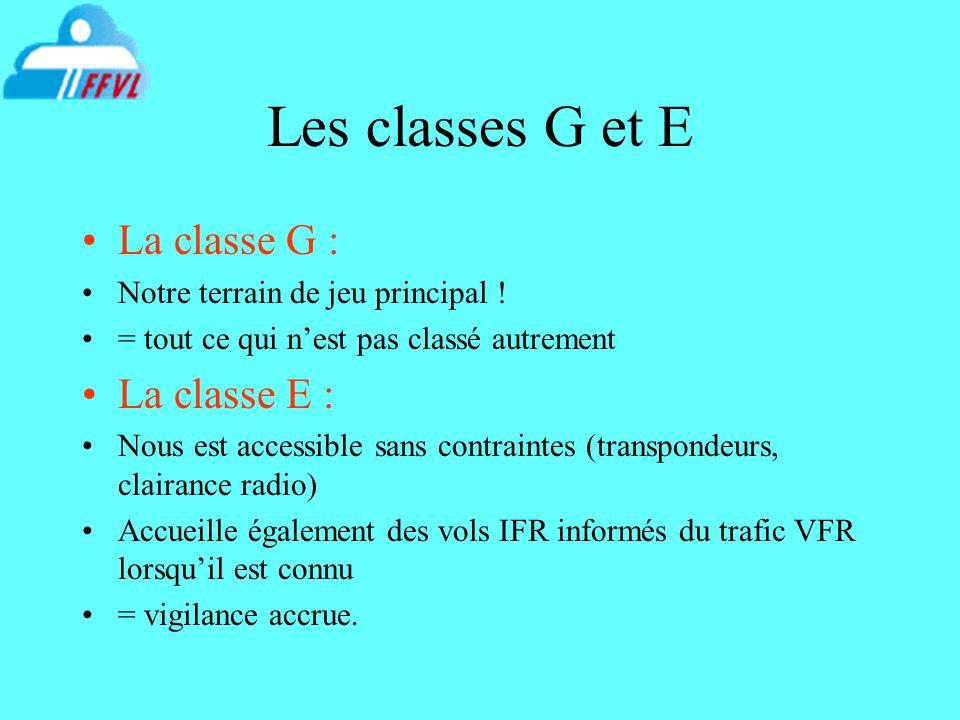 Les classes G et E La classe G : Notre terrain de jeu principal ! = tout ce qui nest pas classé autrement La classe E : Nous est accessible sans contr