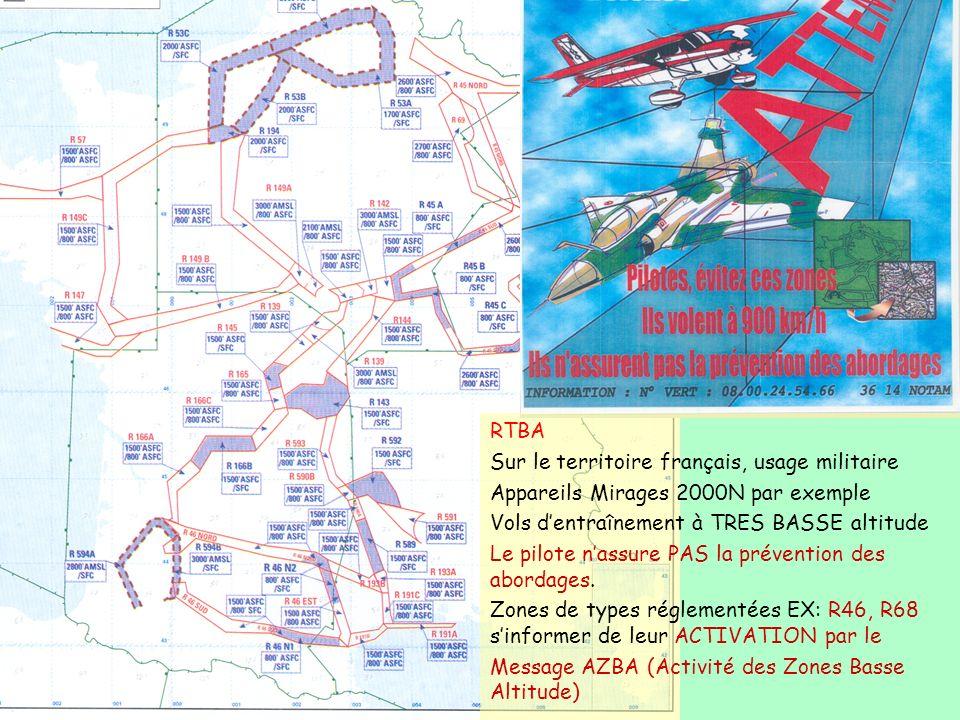 RTBA Sur le territoire français, usage militaire Appareils Mirages 2000N par exemple Vols dentraînement à TRES BASSE altitude Le pilote nassure PAS la