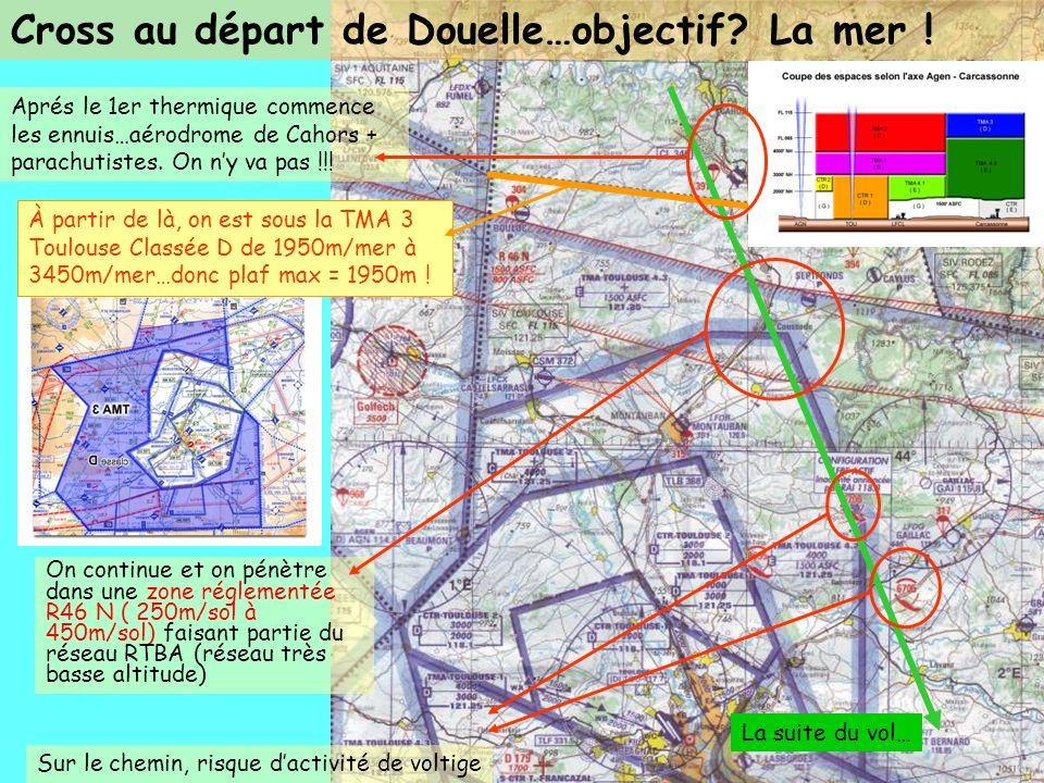 Aprés le 1er thermique commence les ennuis…aérodrome de Cahors + parachutistes. On ny va pas !!! On continue et on pénètre dans une zone réglementée R