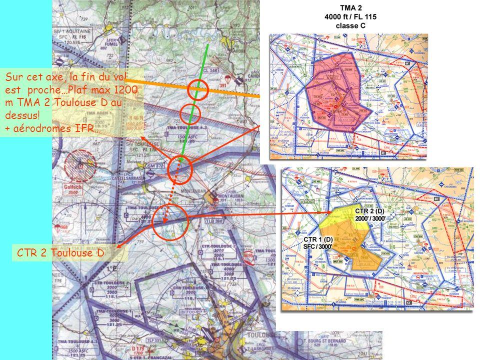 CTR 2 Toulouse D Sur cet axe, la fin du vol est proche…Plaf max 1200 m TMA 2 Toulouse D au dessus! + aérodromes IFR…