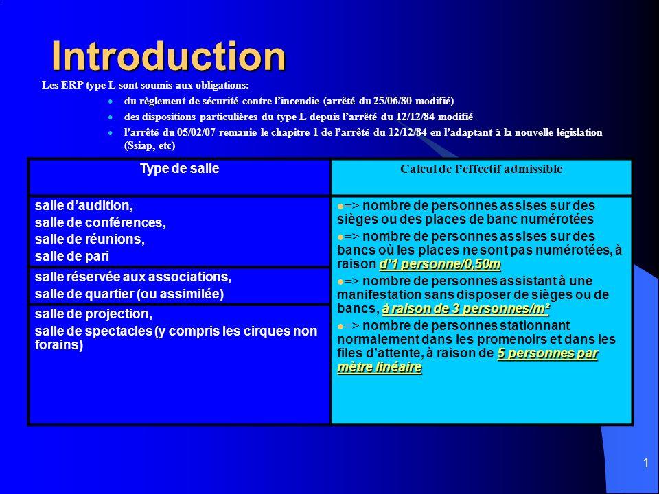 1 Introduction Les ERP type L sont soumis aux obligations: du règlement de sécurité contre lincendie (arrêté du 25/06/80 modifié) des dispositions particulières du type L depuis larrêté du 12/12/84 modifié larrêté du 05/02/07 remanie le chapitre 1 de larrêté du 12/12/84 en ladaptant à la nouvelle législation (Ssiap, etc) Type de salle Calcul de leffectif admissible salle daudition, salle de conférences, salle de réunions, salle de pari => nombre de personnes assises sur des sièges ou des places de banc numérotées d1 personne/0,50m => nombre de personnes assises sur des bancs où les places ne sont pas numérotées, à raison d1 personne/0,50m à raison de 3 personnes/m² => nombre de personnes assistant à une manifestation sans disposer de sièges ou de bancs, à raison de 3 personnes/m² 5 personnes par mètre linéaire => nombre de personnes stationnant normalement dans les promenoirs et dans les files dattente, à raison de 5 personnes par mètre linéaire salle réservée aux associations, salle de quartier (ou assimilée) salle de projection, salle de spectacles (y compris les cirques non forains)