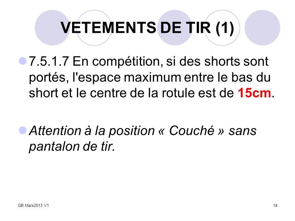 VETEMENTS DE TIR (1) 7.5.1.7 En compétition, si des shorts sont portés, l'espace maximum entre le bas du short et le centre de la rotule est de 15cm.