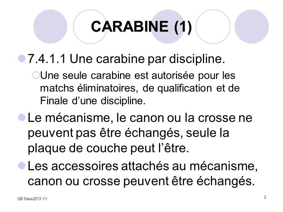 2 CARABINE (1) 7.4.1.1 Une carabine par discipline. Une seule carabine est autorisée pour les matchs éliminatoires, de qualification et de Finale dune