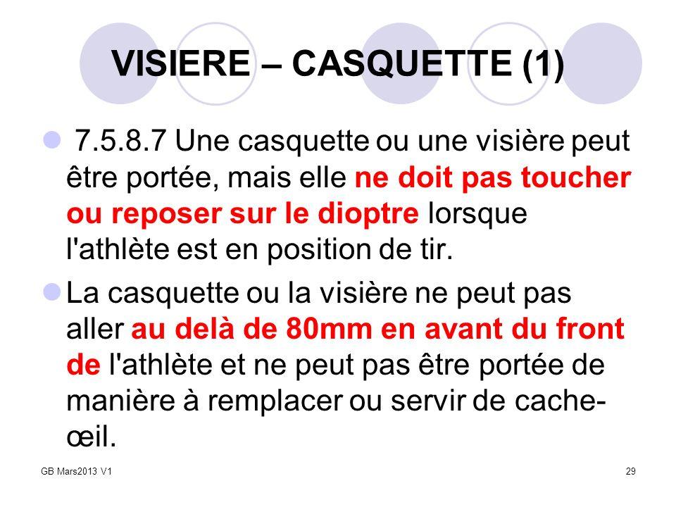 VISIERE – CASQUETTE (1) 7.5.8.7 Une casquette ou une visière peut être portée, mais elle ne doit pas toucher ou reposer sur le dioptre lorsque l'athlè