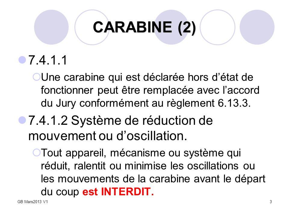 3 CARABINE (2) 7.4.1.1 Une carabine qui est déclarée hors détat de fonctionner peut être remplacée avec laccord du Jury conformément au règlement 6.13