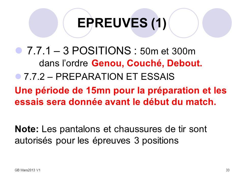 EPREUVES (1) 7.7.1 – 3 POSITIONS : 50m et 300m dans lordre Genou, Couché, Debout. 7.7.2 – PREPARATION ET ESSAIS Une période de 15mn pour la préparatio
