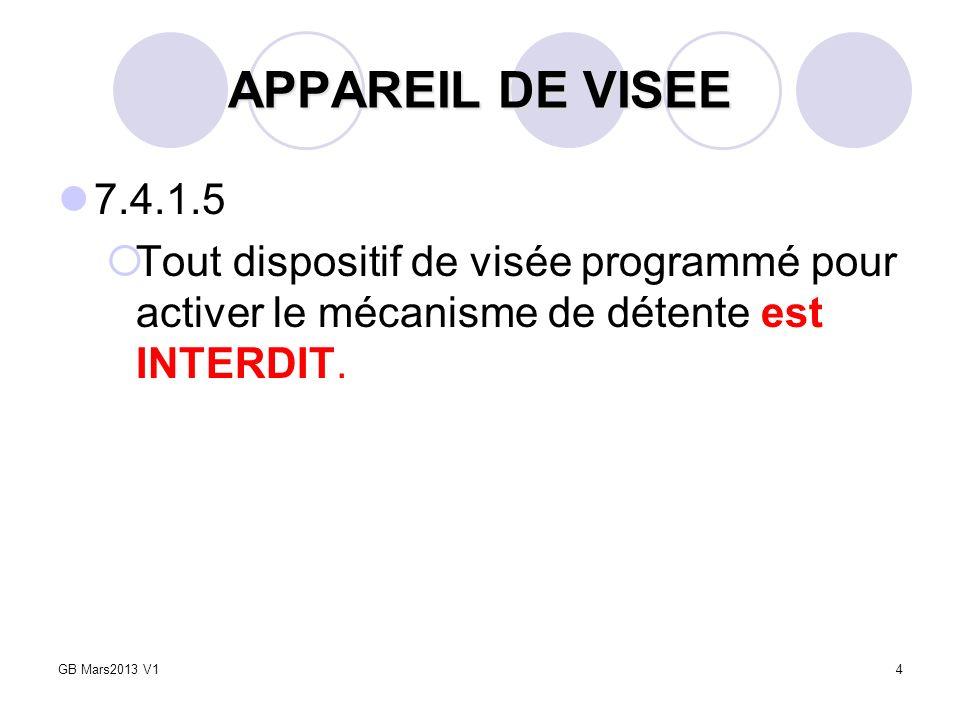 4 APPAREIL DE VISEE 7.4.1.5 Tout dispositif de visée programmé pour activer le mécanisme de détente est INTERDIT. GB Mars2013 V1